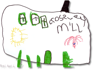 Drawing of Crossley Mill by Brigit, age 4