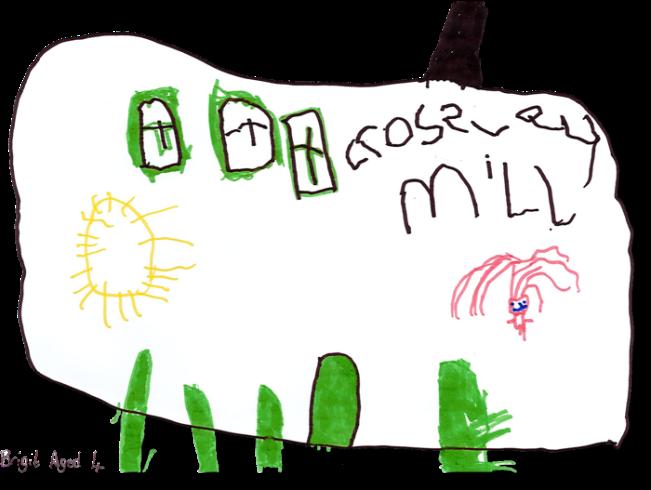 Drawing of Crossley Mill by Brigit, age 4